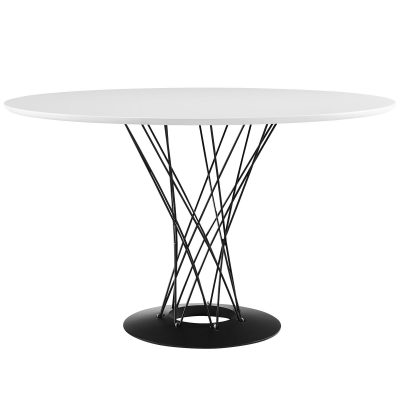 Round Dining Table with Metal Support and Base