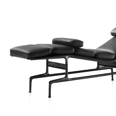 Eames Chaise Lounge Chair with black metal legs